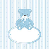 Teddybeer voor babyjongen Stock Afbeeldingen