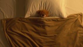 Teddybeerstuk speelgoed die die in bed liggen met deken, kinderjarengeheugen, onschuld wordt behandeld stock footage