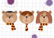 Teddyberen in de vermomming van Harry Potter, van Ron Weasley en Hermione Granger- Terug naar school vectorillustratie, vlakke ge stock illustratie