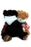 Teddyberen die in maskers zitten stock fotografie