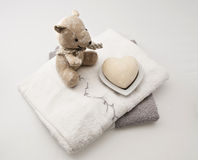 Teddyberen en badconcept stock afbeeldingen
