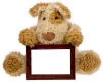 Teddybär mit Fotofeld Stockfotografie