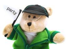 Teddybär mit Partymarkierungsfahne Stockbild