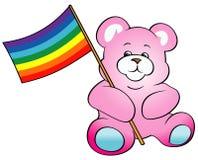 Teddybärholding Regenbogen-Markierungsfahne Lizenzfreie Stockfotografie