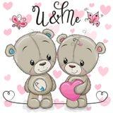 Teddyjongen en Teddy-meisje op een hartenachtergrond royalty-vrije illustratie