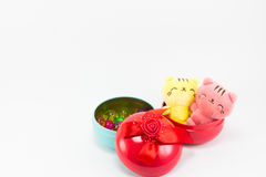 Teddykat op rode blauwe giftdoos op witte achtergrond Stock Fotografie
