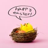 Teddykuiken en tekst gelukkige Pasen stock afbeelding