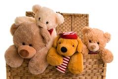Teddys in einem Spielzeugkasten lizenzfreie stockfotos