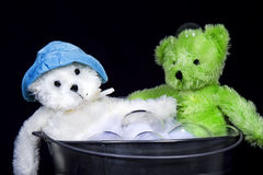 Teddys in Washtub Stock Photos