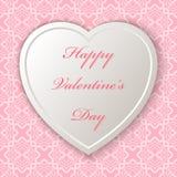Teder hart met Dag van tekst de Gelukkige Valentine ` s Een naadloos patroon Royalty-vrije Stock Fotografie