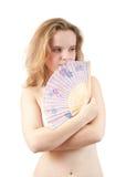 Teder meisje met een ventilator Stock Fotografie
