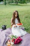 Teder meisje op een picknick met zoete kaastaart en desserts Stock Foto's