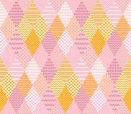 Teder naadloos patroon Elegant lapwerk in roze en gele kleuren stock illustratie