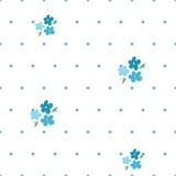 Teder naadloos patroon met vergeet-mij-nietjes en blauwe punten vector illustratie