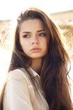 Teder portret van mooi jong meisje stock foto's