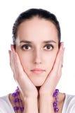 Teder vrouwengezicht stock afbeeldingen