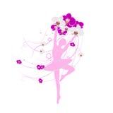 Tedere ballerina die een regeling van orchidee houden royalty-vrije illustratie