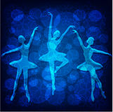 Tedere balletdansers op blauwe achtergrond royalty-vrije illustratie