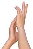 Tedere en vrouwelijke handaanraking Stock Afbeeldingen