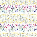Tedere gevoelige mooie heldere verfijnde de lente kleurrijke textiel gele wildflowers en rode roze violette tulpen en blauwe blu stock illustratie