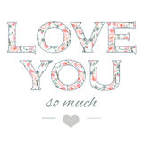 Tedere illustratie voor uw groetkaart voor St Valentine dag met bloemenwaterverf het schrijven binnen Liefde u Royalty-vrije Stock Afbeeldingen