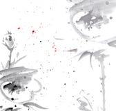 Tedere waterverfbloemen Stock Foto