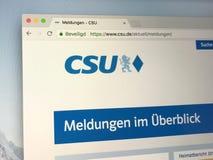 Tedesco Christian Social Union del homepage in Baviera o CSU Immagine Stock