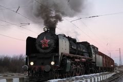 Tedesco del treno a vapore del treno di guerra mondiale Immagine Stock