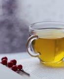 Tee auf einem Buch mit Weihnachtsbeeren Lizenzfreies Stockbild
