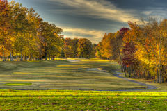 On the Tee box in Richmond. HDR shot from tee box at the Crossing Golf Course in Richmond VA-Fall Royalty Free Stock Photo