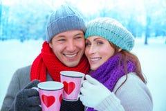 Tee in der Kälte Stockfotografie