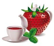 Tee Erdbeeren Lizenzfreie Stockfotos