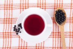 Tee gemacht von den Beeren der schwarzen Holunderbeere Stockbild