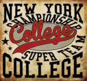 Tee graphic college badge vector art Royalty Free Stock Photo