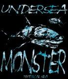 Tee graphic design underwater monster Stock Images