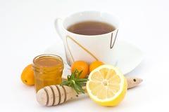 Tee, Honig und Zitrone stockbilder