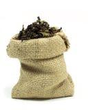 Tee im Sack des groben Sackzeugs Lizenzfreies Stockfoto