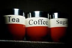 Tee-Kaffee-Zucker Stockfoto