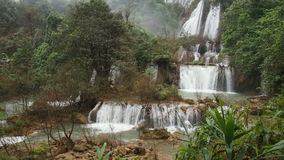 Tee-lor-su waterfall in Thailand stock footage