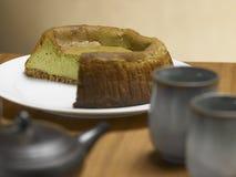 Tee Matcha-Käsekuchen Stockbild