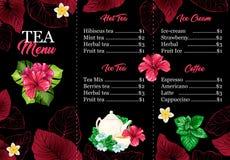 Tee-Menü oder Broschüren-Karte mit hawaiischer Hibiscus-roter Duft-Blume Helle Blätter und Kamille Caf?design vektor abbildung