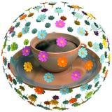 Tee mit Blumen Stockfoto