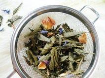 Tee mit den rosafarbenen Blumenblättern und den blauen Blumen Lizenzfreie Stockbilder
