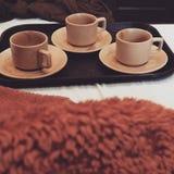 Tee mit drei Schalen Lizenzfreie Stockbilder