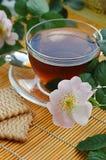 Tee mit Hund-stieg Blüte Lizenzfreies Stockfoto