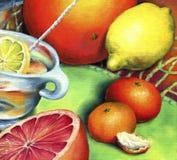 Tee mit Zitrone, Pampelmuse und Tangerinen Stockfotos