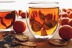 Tee mit Zitrusfrucht und tadellosen Blättern lizenzfreie stockbilder