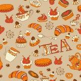 Tee, nahtloses Gekritzelmuster der Bonbons Lizenzfreie Stockfotografie