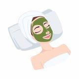 Tee-natürliche Maske auf Schönheits-Gesicht, Illustrations-Vektor-Design Stockfotografie