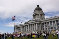 Tee-Partyprotest am Zustandkapitol Lizenzfreies Stockfoto